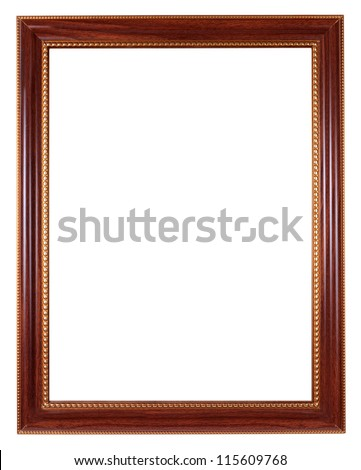 Antique golden and brown wooden picture frame - stock photo