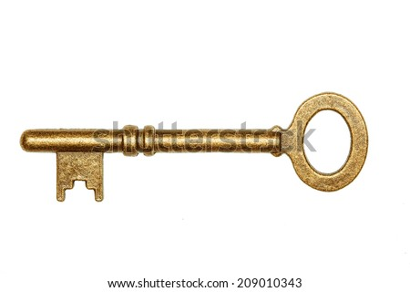 antique golden door key isolated on white background