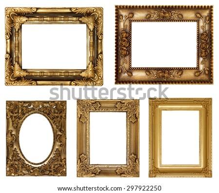 antique golden frame - stock photo