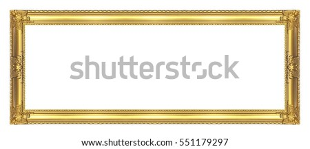 antique golden frame isolated on white background clipping path