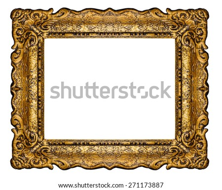 Antique golden frame isolated on white background, Clipping path included (outside and inside)