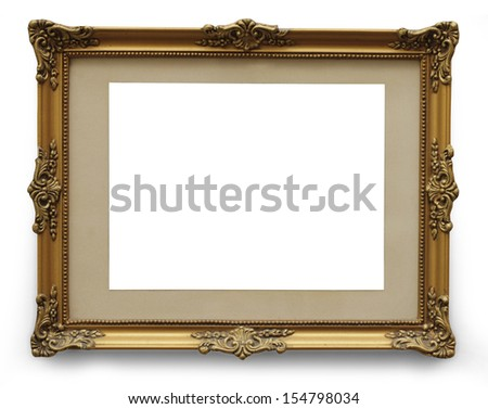 Antique golden frame isolated with clipping path  - stock photo