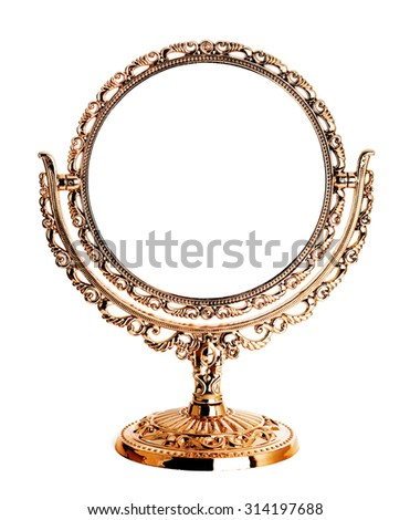 Antique golden mirror isolated on white background - stock photo