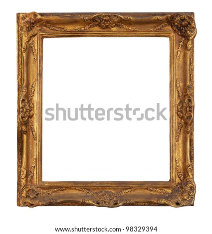 Antique golden picture frame, isolated white background, clipping path. - stock photo