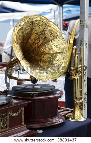 Antique gramophone - stock photo