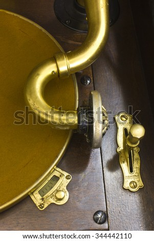 Antique Gramophone Phonograph VI - Vintage Gramophone Phonograph Closeup With Turntable and Needle - stock photo