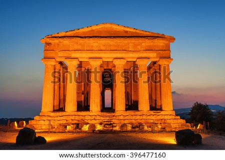 Antique greek temple of Concordia in the Valley of Temples, Agrigento, Sicily, Italy, on sunset