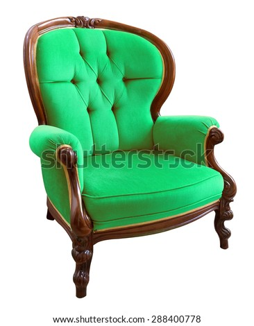 Antique green armchair isolated on white background - stock photo