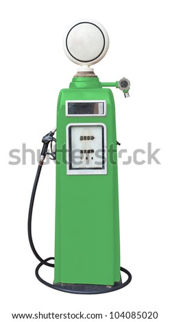 Antique green gas pump on white with clipping path - stock photo