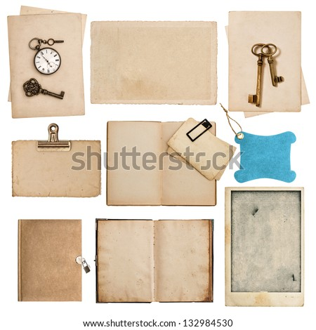 antique grungy paper sheets with clock and key isolated on white background - stock photo