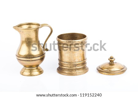Antique Hammered Brass pots isolated on white background