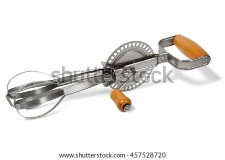 Antique hand mixer isolated on white background - stock photo