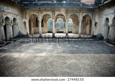 antique hindu tample arches - stock photo