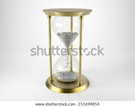Antique Hourglass filled with Footballs - stock photo
