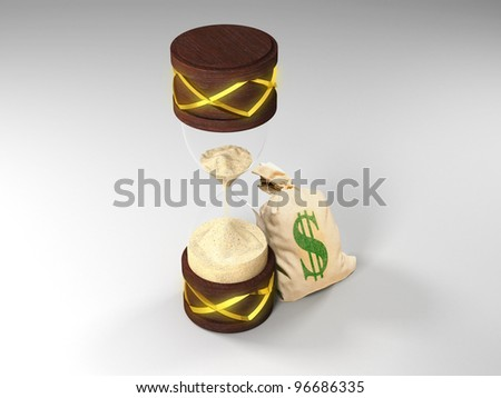 antique hourglass on a white surface, decorated with gold and moneybag with dollars. Time is money - stock photo