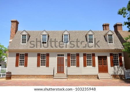 Antique House in Colonial Williamsburg, Virginia, USA - stock photo