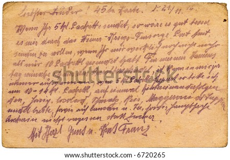Antique hungarian postcard from 1917 with German blackletter handwriting, sent to an address in Germany. Backside