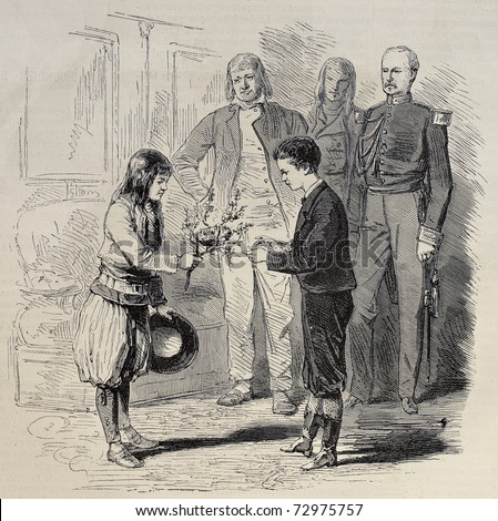 Antique illustration of a boy presenting nest to Prince Imperial Louis Napoleon Bonaparte. Original, from drawing of Pauquet, was published on L'Illustration, Journal Universel, Paris, 1868