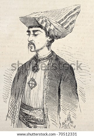Antique illustration of a Parsi man in Aden. Original, from drawing of Rouargue, after sketch of Deschiens, published on L'Illustration, Journal Universel, Paris, 1860