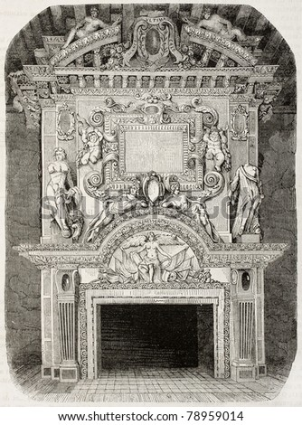 Antique illustration of an old fireplace in Cadillac castle, in the Gironde department, France. Created by Dyouin and Soupey, published on Magasin Pittoresque, Paris, 1850 - stock photo