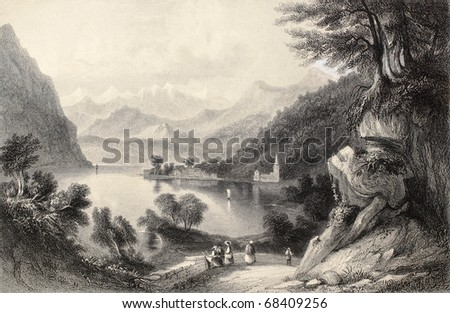 Antique illustration of Lake Lugano, on the border between Italy and Switzerland. Original, created by Major Irton and T. A. Prior, was published in Florence, Italy, 1842, Luigi Bardi ed. - stock photo