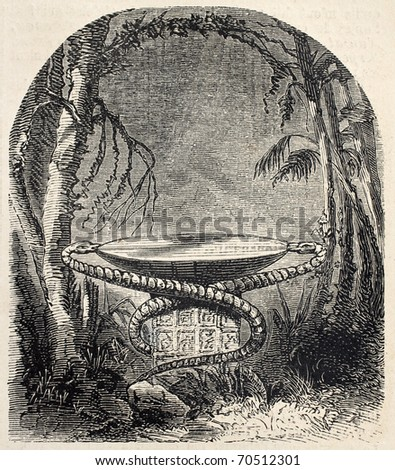 Antique illustration of sacrificial stone in central American jungle. Original, from drawing of  De Pontelli, was published on L'Illustration, Journal Universel, Paris, 1860