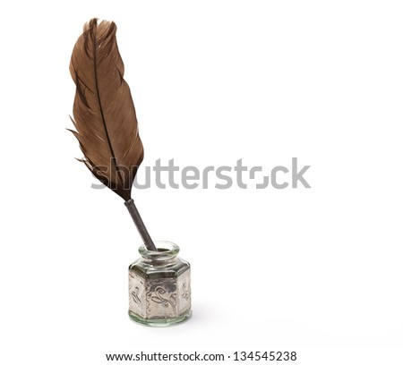 antique ink pen - stock photo