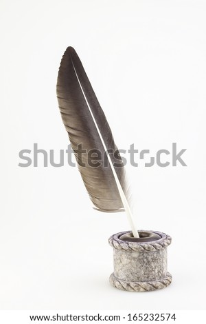 antique  inkwell and old pen isolated background  - stock photo