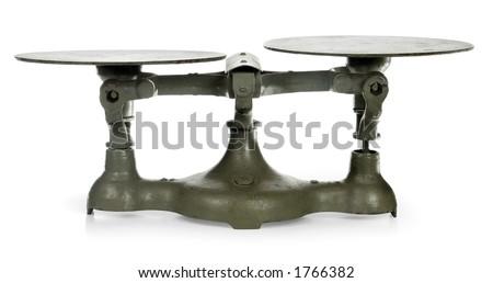 antique iron scales showing imbalance - stock photo