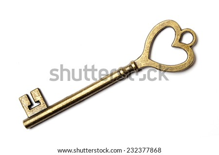 Antique key isolated on white background - stock photo