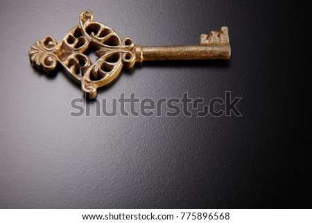 antique key on the black background