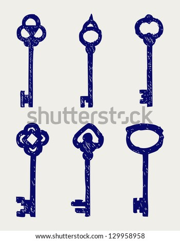 Antique keys collection. Doodle style. Raster version - stock photo