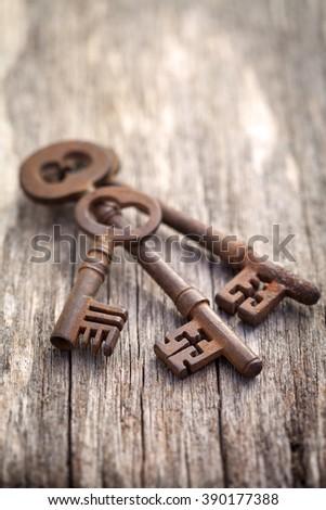 Antique keys on wooden background - stock photo