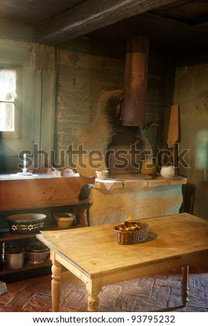 Antique kitchen of 1900 in the eco museum of Ungersheim, Alsace, France