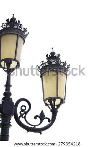 Antique lamp post isolated on a white background - stock photo