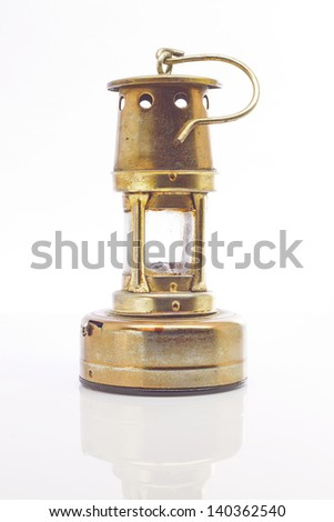 Antique lantern portrait with reflection