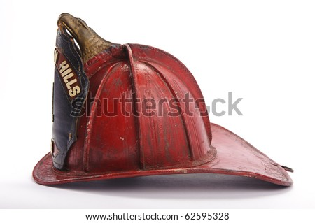 Antique leather fire helmet