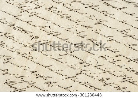 Antique letter with calligraphic handwritten text. Grunge vintage paper background