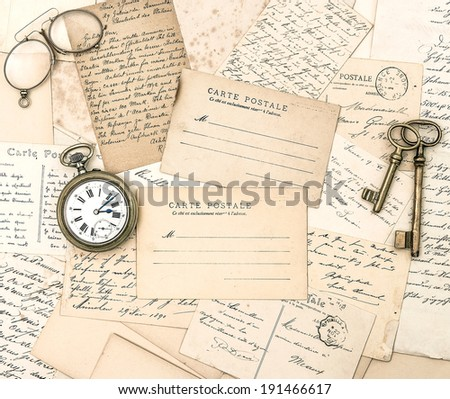 antique letters and postcards. ephemera. nostalgic old papers background