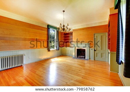 Antique library with fireplace. Amazing home from 1856 has never been touched since then. All details remain original. Lakewood, Washington State, US. - stock photo