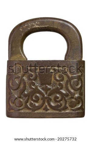 Antique lock with ornate pattern isolated on a white background