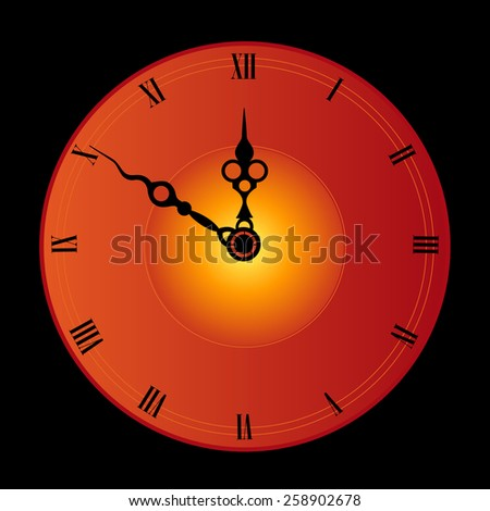 Antique looking clock face isolated on black background illustration - stock photo