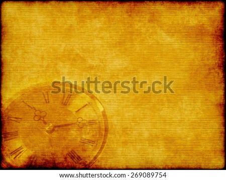 Antique looking clock face on old grunge paper - stock photo
