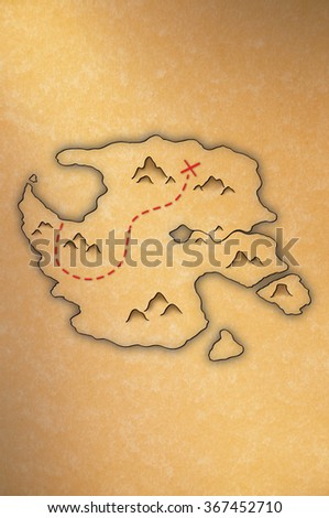 Antique-looking treasure map of an island on yellow paper