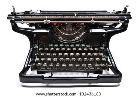 Antique manual Underwood typewriter on white