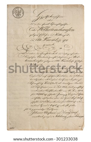 Antique manuscript with calligraphic handwritten text. Grunge vintage paper texture with edges. Old handwriting - stock photo