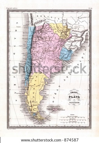 Antique 1870 map argentina chile patagonia stock illustration 874587 antique 1870 map of argentina chile patagonia gumiabroncs Images