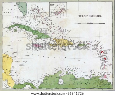 Antique map of Cuba and the Caribbean  from the out of print 1841 Goodrich atlas - stock photo