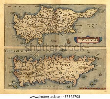 Antique Map of Cyrpus, Candia and Crete by Abraham Ortelius, circa 1570. Eastern Mediterranean - stock photo