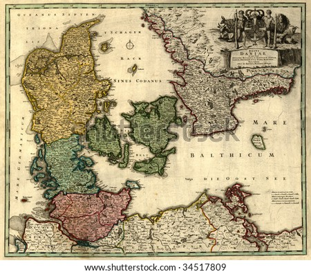 Antique map of Denmark (18 centuries, Latin language). - stock photo